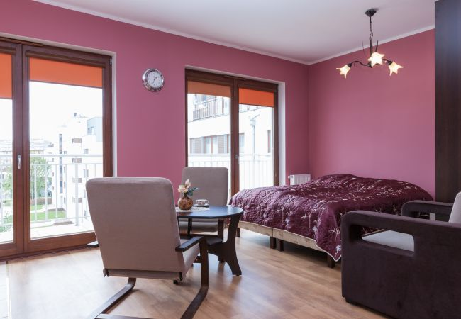 living room, double bed, bedroom, dining area, dining table, chair, armchair, wardrobe, window, rent