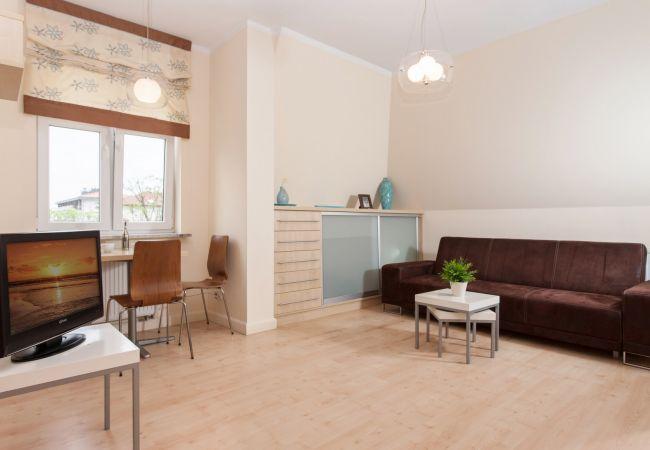 salon, stolik kawowy, sofa, telewizor, okno, jadalnia, stół jadalny, krzesła, wynajem